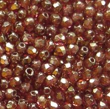 2.5mm Fire Polished, Transparent Rose Gold Topaz Lustre - 100